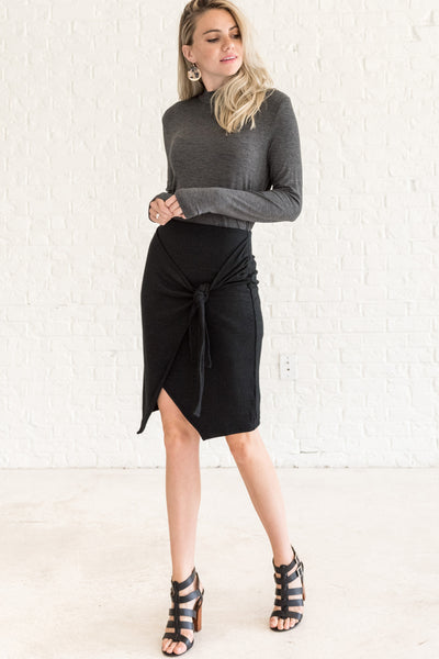 Black Tight Wrap Mini Pencil Sweater Skirts for Fall and Winter