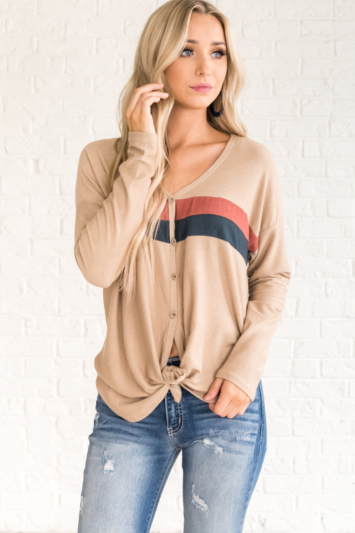 Beige Tan Brown Retro Button Up Tie Front Pullover Tops