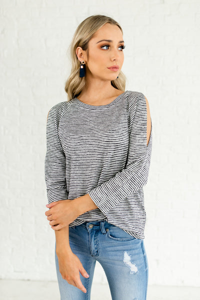 Black White Marled Striped Slit Shoulder Affordable Online Boutique Tops