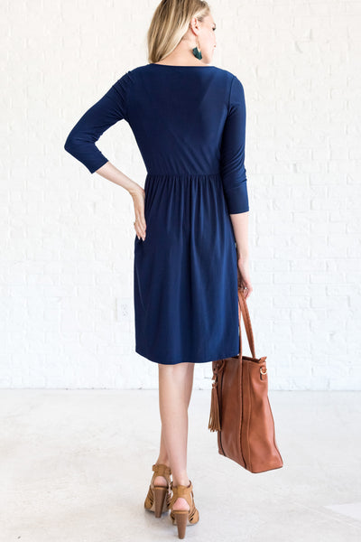 Navy Blue Wrap Dresses for Wedding Bridesmaid Special Occasions
