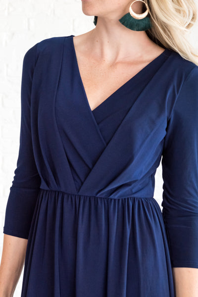 Navy Blue Boutique Cute Wrap Dresses Maternity Nursing Friendly