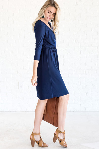 Navy Blue Going Out Wrap Dresses for Fall and Winter