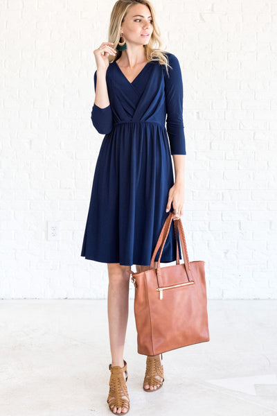 Navy Blue Knee Length Midi Semi Formal Wrap Dresses