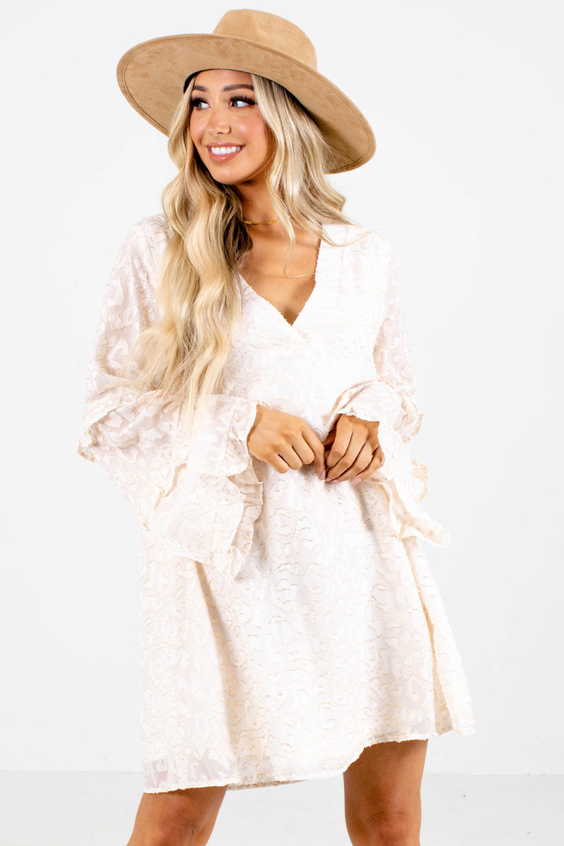 Untamed Long Sleeve Mini Dress - Off White
