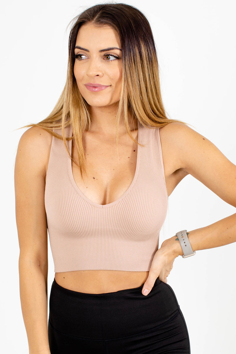 Active V-Neck Ribbed Crop Top