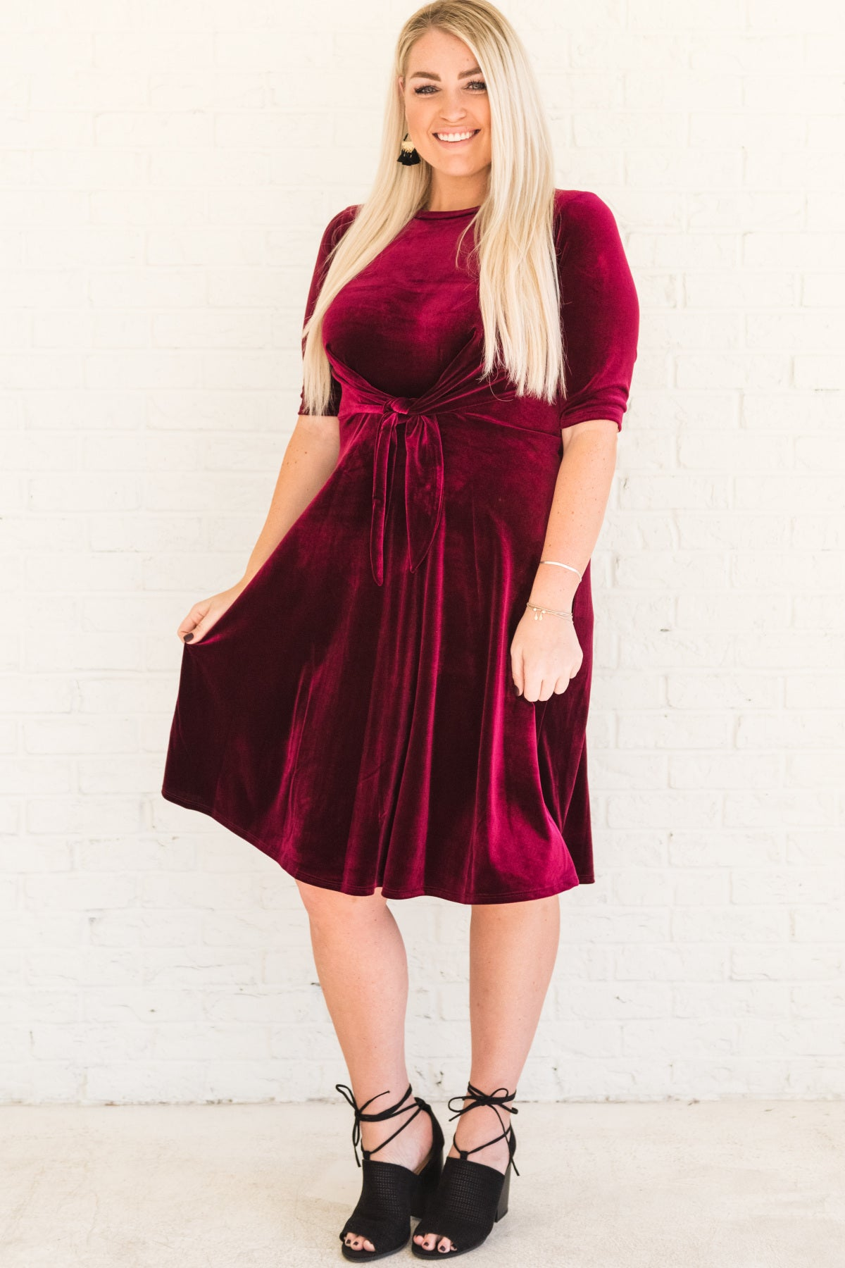 cc970977392 Burgundy Red Plus Size Velvet Midi Dress Tie Front Detail Holiday Party