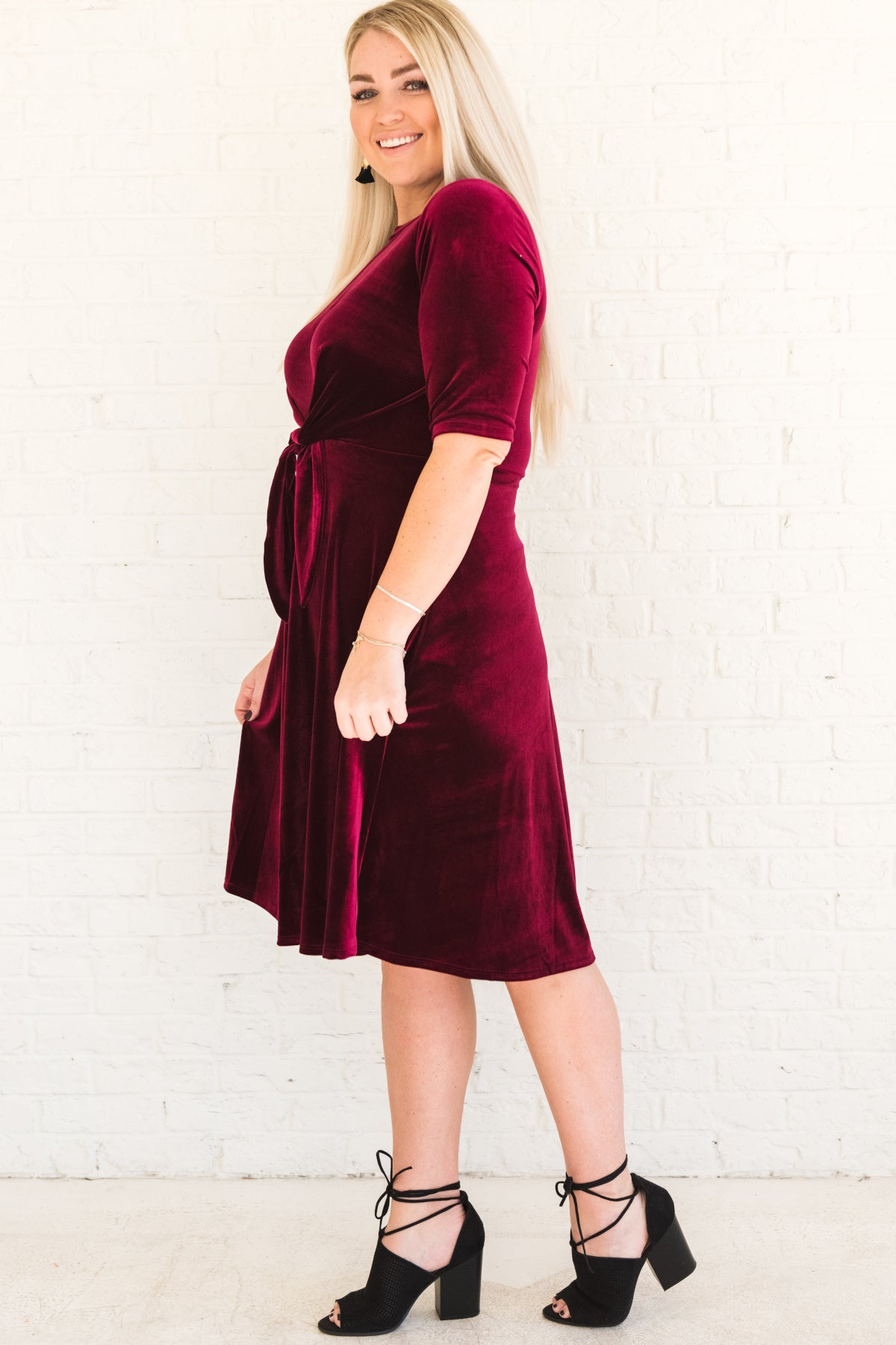 Vamp Burgundy Velvet Tie-Front Midi Dress | Plus Size Dresses