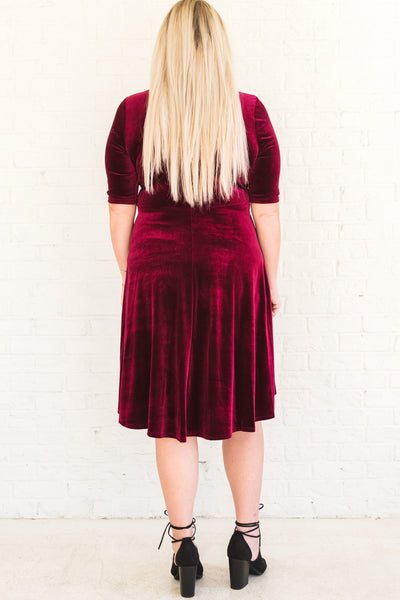 Burgundy Red Plus Size Winter Party Dresses with Half Sleeves Velvet Material Tie Front Detail