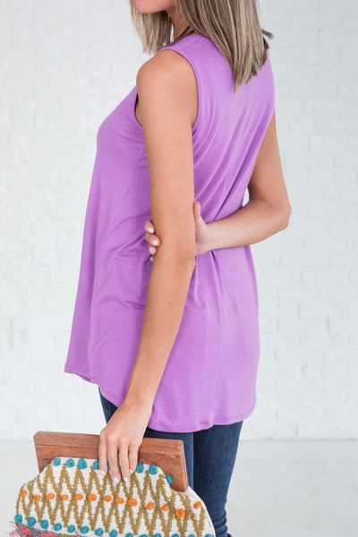 Bright Purple Cute Soft Tank Tops for Workout or Layering