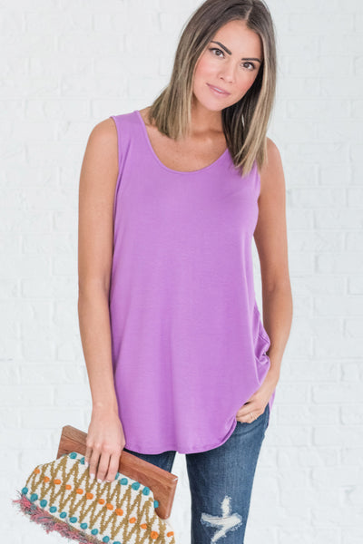 Lilac Violet Vivid Vibrant Neon Purple Tank Tops for Women