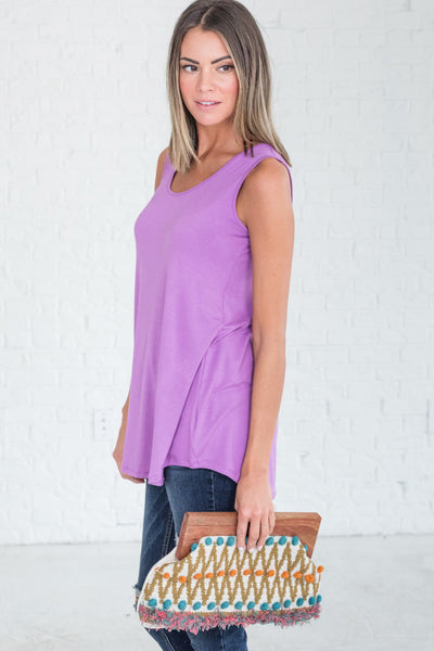 Purple Long Tunic Tank Tops from Affordable Online Boutique