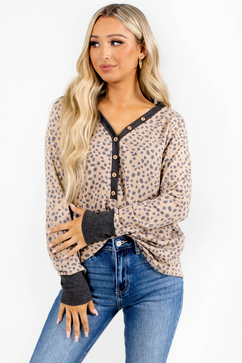 Welcome to the Jungle Long Sleeve Top - Light Brown