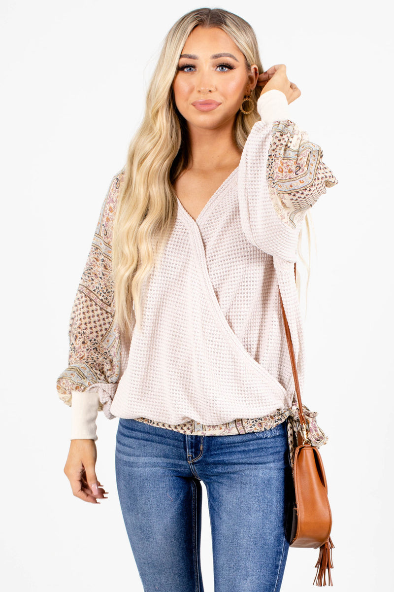 Whatever Will Be Long Sleeve Top - Light Brown