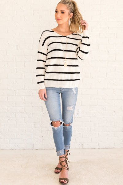 White Striped Pullover Knit Striped Sweater with Infinity Knot Twist Back