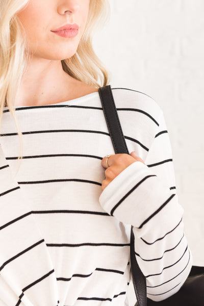 White Black Asymmetrical Stripe Knot Tops Affordable Online Womens Winter Fashion Boutique