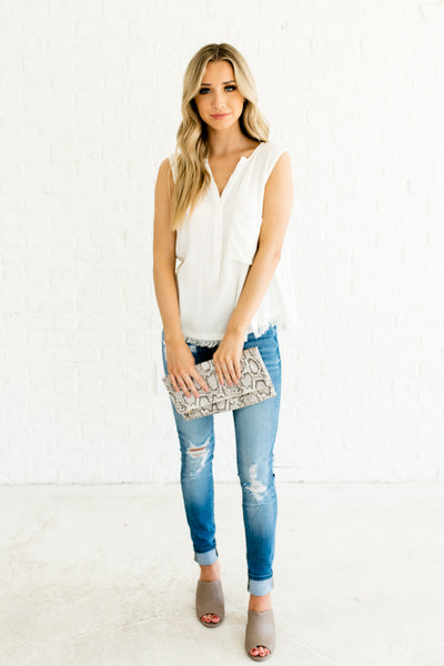 White Ribbed Knit Sleeveless Top with Live Laugh Love Lettering and Pocket