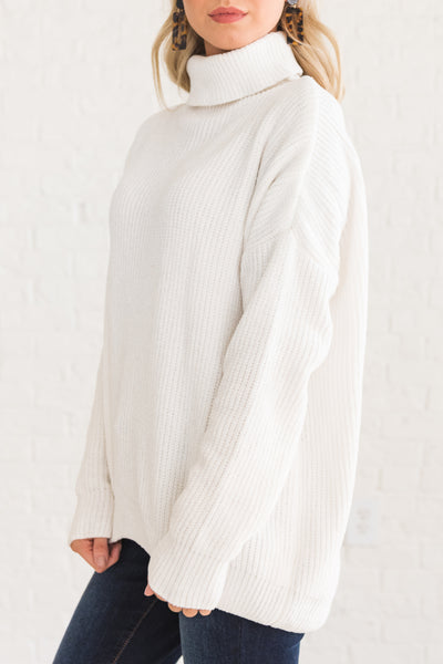 White Cowl Neck Boutique Sweaters for Women