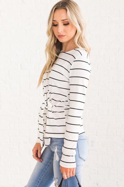 White Black Striped Front Knot Long Sleeve Tops for Women