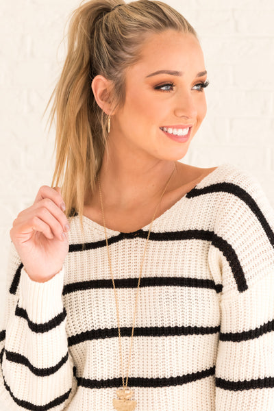 White Striped Cute Boutique Knit Sweaters Infinity Knot Open Twist Back