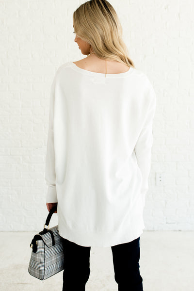 White Cute Oversized Boyfriend Front Seam High Low Hem Pullover Sweaters