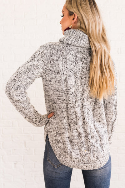 White Black Marled Thick Cable Knit Turtleneck Sweaters