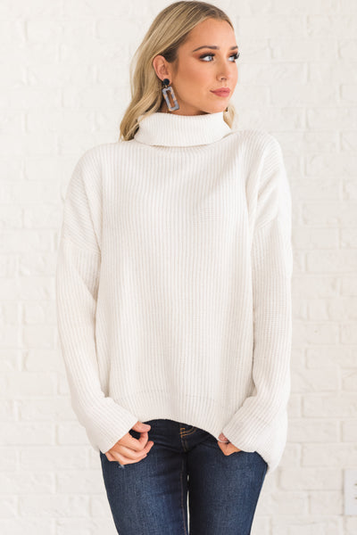 White Soft Knit Super Cozy Warm Winter Chenille Sweaters with High Cowl Neck