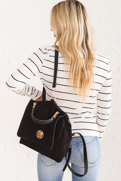 White with Black Striped Long Sleeve Front Knot Tops Affordable Online Boutique
