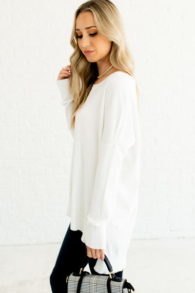 White Oversized Cute Front Seam Split Hem High Low Boyfriend Sweaters for Women