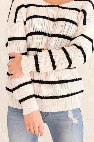White Striped Pullover Sweaters with Infinity Twist Knot Back