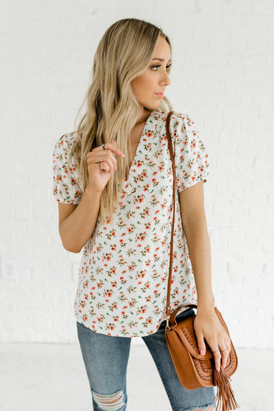White Coral Peach Blue Green Floral Print Tops Affordable Online Boutique