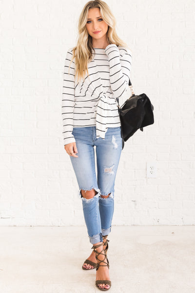 White Long Sleeve Cute Striped Tops with Asymmetrical Front Knot