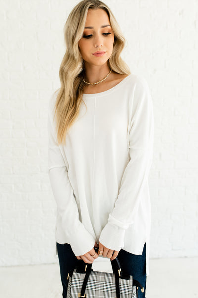 White Oversized Boyfriend Fit Front Seam High Low Split Hem Sweaters for Women