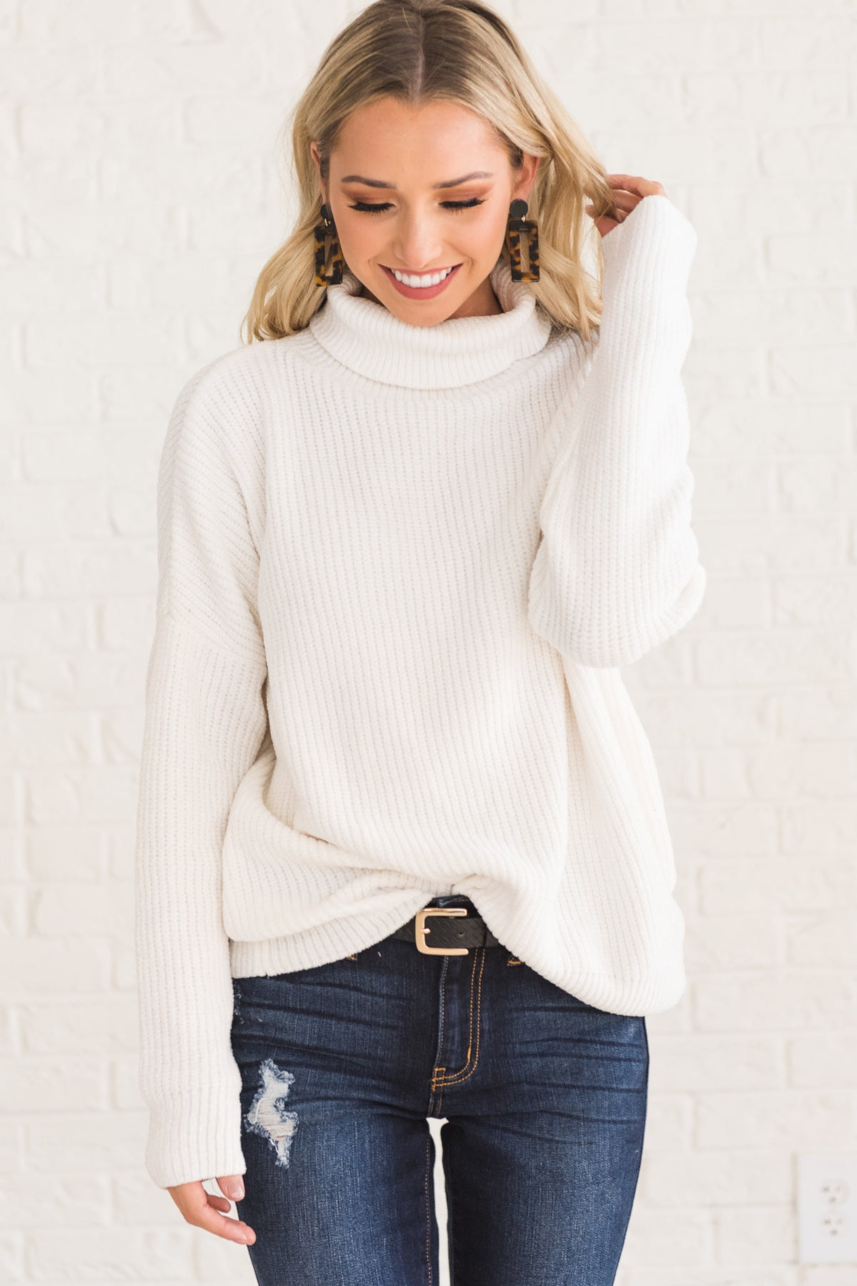 32e9fbba022400 White Cute Cozy Warm Soft Knit Chenille Sweaters with Cowl Neck