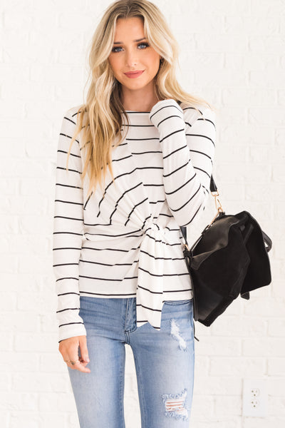 White Black Striped Long Sleeve Front Knot Asymmetrical Tops for Women