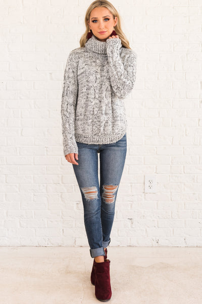 White Black Cable Knit Turtleneck Sweater Marled Cute Soft Cozy Warm