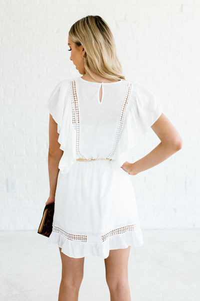 White Mini Dresses Ruffle Butterfly Sleeve Crochet Fully Lined Spring Summer