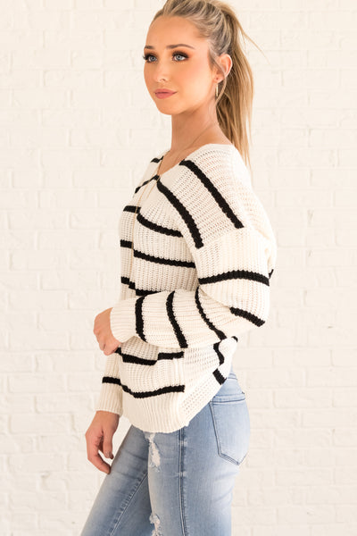 White Infinity Twist Knot Back Striped Sweaters Womens Winter Fashion Outerwear