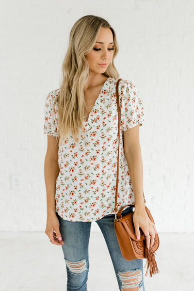 White Coral Green Blue Peach Floral Pattern Printed Boutique Tops