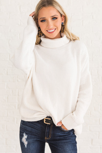 White Cute Soft Cozy Warm Oversized Boyfriend Pullover Chenille Sweater with Cowl Neck