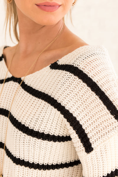 White Striped Pullover Sweater with Infinity Knot Back Affordable Online Sweaters