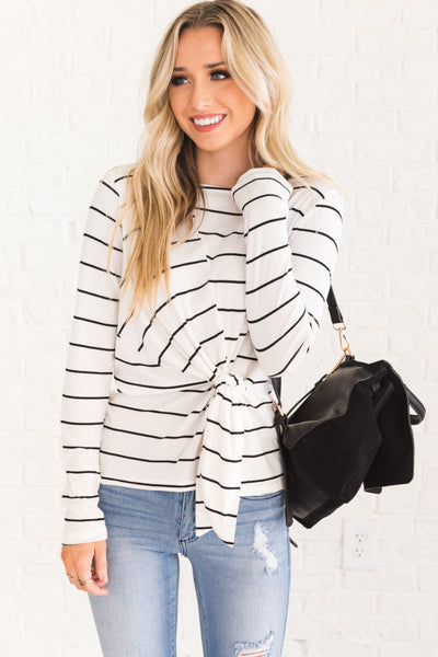 White with Black Stripes Long Sleeve Front Knot Tops for Women