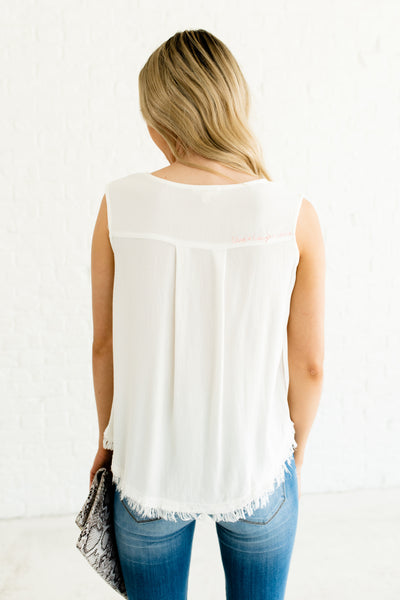 White Ribbed Tank Top with Button Up Neckline Front Pocket Frayed Hem and Embroidery