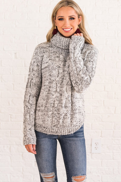 White Black Cable Knit Thick Warm Cozy Turtleneck Sweaters for Women