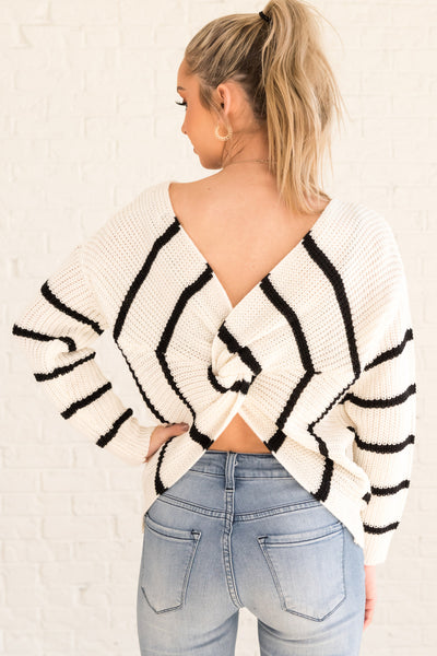 White Black Striped Boutique Sweaters Twisted Infinity Knot Back