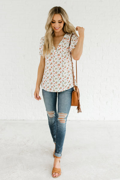 White V Neckline High Low Floral Print Boutique Tops for Women