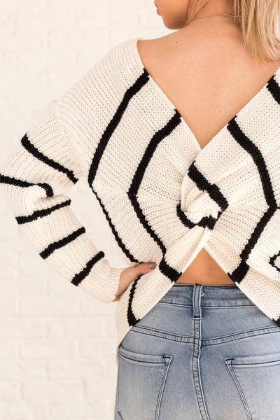 White Striped Infinity Knot Sweaters Affordable Online Womens Winter Fashion Boutique