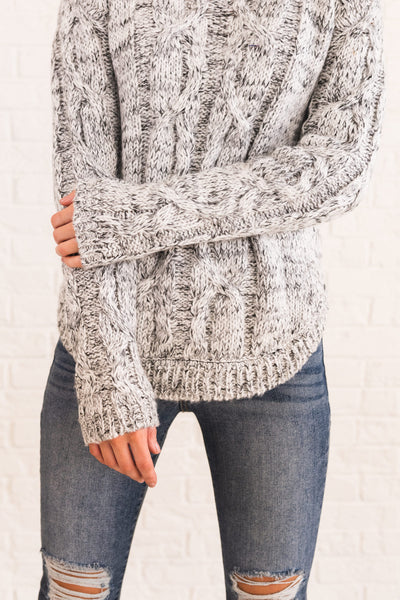 White Black Cable Knit Warm Cozy Turtlenecks and Sweaters for Winter