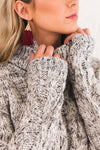 White and Black Cute Cozy Warm Cable Knit Turtleneck Sweaters