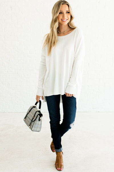 White Cute Cozy Warm Soft Cute Oversized High Low Sweaters Affordable Online Boutique
