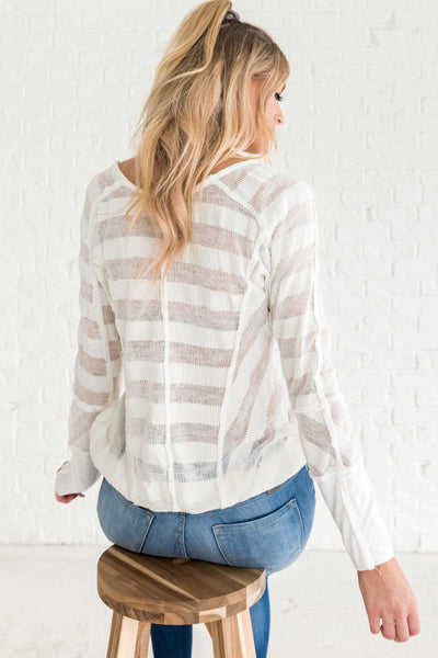 White Soft Knit Sweater with Striped Pattern and Exposed Seam